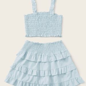 Blue Ruffle Skirt and Top Set
